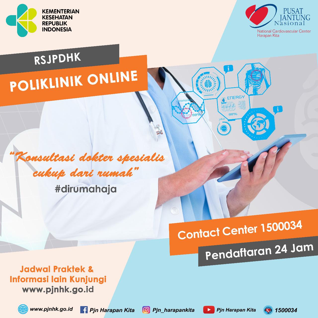 Tetap memberikan pelayanan konsultasi jantung saat pandemi, RSJPDHK melaksanakan Poli Online